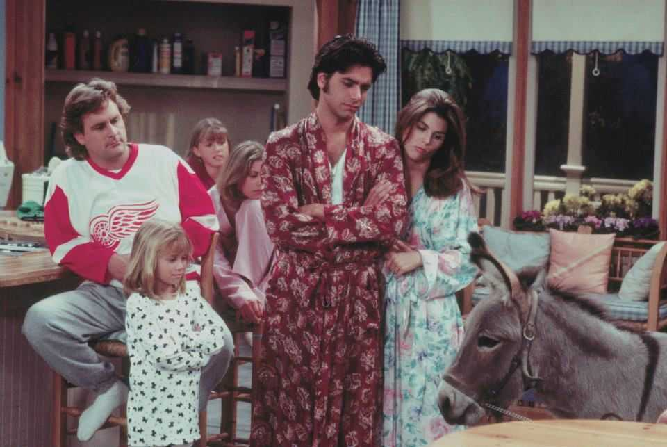 the full house cast and a donkey