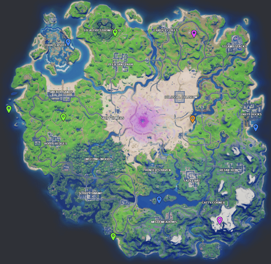 A screenshot from Fortnite showing where the Week 7 XP coins are
