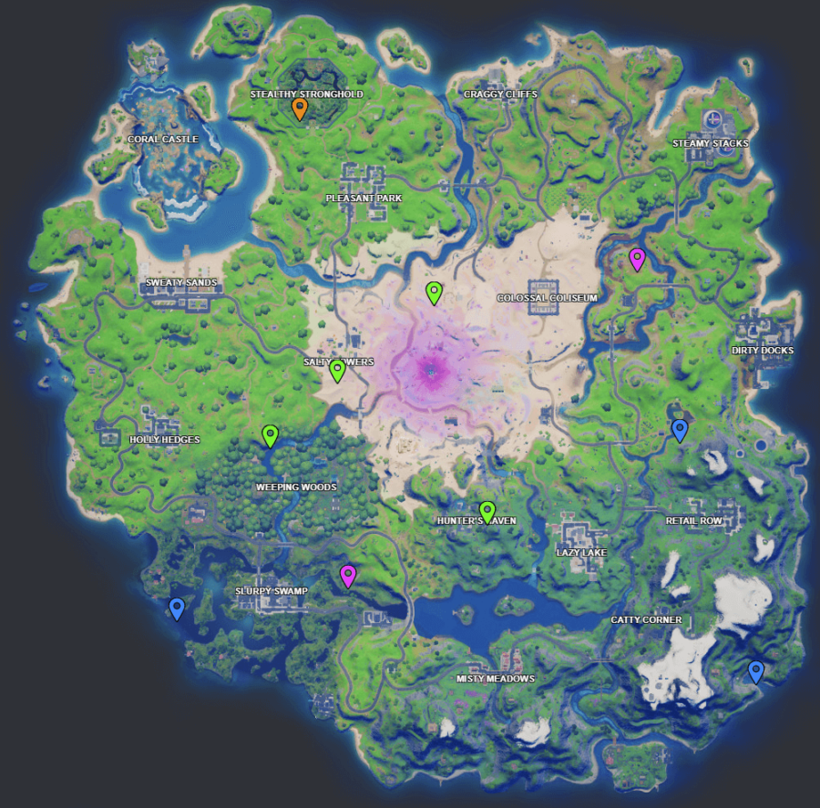 A screenshot from Fortnite showing where the Week 8 XP coins are
